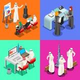 Arabisches Geschäfts-isometrische Leute Lizenzfreie Stockbilder