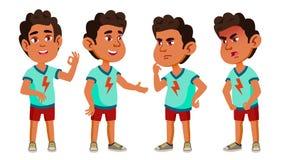 Arabisches, moslemisches Jungen-Kindergarten-Kind wirft gesetzten Vektor auf Freundliche kleine Kinder Nett, komisch Für Netz Bro lizenzfreie abbildung