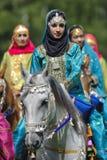 Arabisches Pferd und Frau Stockbild