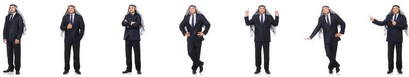 Arabisk affärsman i dräkt på vit royaltyfri foto