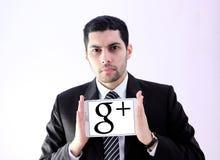 Arabisk affärsman med Google plus Arkivbild