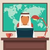 Arabisk affärsman Working i kontoret Arkivbild