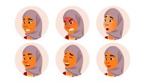 Arabisk Avatarkvinnavektor Ansikts- sinnesrörelser beklär traditionellt islamiskt Hijab Arab muselman Användarestående förskräckt vektor illustrationer