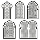 Arabisk eller islamisk fönsteruppsättning Arkivfoto