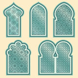 Arabisk eller islamisk fönsteruppsättning Arkivfoton