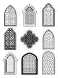 Arabisk eller islamisk traditionell arkitektur, uppsättning av fönstret royaltyfri illustrationer