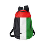 Arabisk emiratflaggaryggsäck som isoleras på vit Arkivbilder