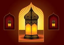 arabisk färgrik invecklad lykta royaltyfri illustrationer
