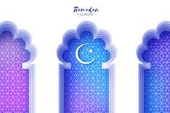 Arabisk fönsterbåge i papperssnittstil Kort för origamiRamadan Kareem hälsning Arabesquemodell Växande moon helgedom stock illustrationer