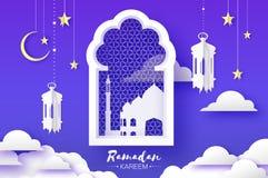 Arabisk fönsterbåge, lykta med den vita moskén i papercraftstil OrigamiRamadan Kareem Greeting kort V?xande moon stock illustrationer