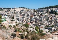 Arabisk fjärdedel av Silwan i östra Jerusalem Fotografering för Bildbyråer