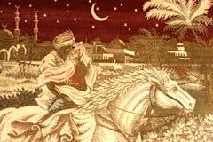 Arabisk gobelängefterföljd Den arabiska prinsen räddar hans älskling 2 Royaltyfri Bild