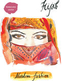 Arabisk hijab vektor illustrationer