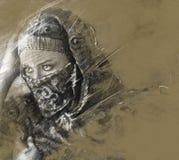 Arabisk kvinna för Illustration.Exotic som utanför ser. konstnärlig portrai vektor illustrationer
