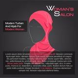 Arabisk kvinna i röd hijab på svart Stock Illustrationer