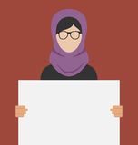 Arabisk kvinna som rymmer ett tomt horisontalbaner royaltyfri illustrationer