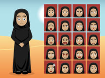 Arabisk kvinnatecknad filmsinnesrörelse vänder mot vektorillustrationen Royaltyfria Foton