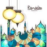 Arabisk lykta och moské för Ramadan Kareem beröm stock illustrationer