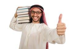 Arabisk man med böcker som isoleras på vit arkivfoton