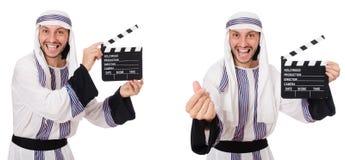Arabisk man med clapper-br?det som isoleras p? vit royaltyfria bilder