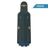 Arabisk niqab för kvinnakläder vektor illustrationer