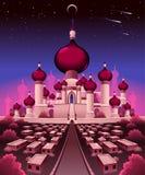 Arabisk slott i natten stock illustrationer