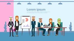 Arabiska data för finans för diagram för flip för presentation för grupp för affärsfolk, arabiska businesspeople för den fulla lä stock illustrationer
