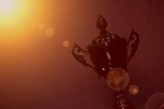 ARABISKA EMIRATER FÖR DUBAI-UNITED PÅ 21 JUNI 2017 Flott bildskottsikt av den filtrerade guld- trofén för mästare, naturlig mörk  arkivfoto
