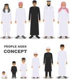 Arabiska folkutvecklingar på olika åldrar som isoleras på vit bakgrund i plan stil Arabiskt åldras för man: behandla som ett barn stock illustrationer