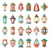 arabiska lampor Kulör samling för gammal ljus muslim islamisk lyktavektortecknad film stock illustrationer