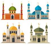 Arabiska muslimmoskéer och minaret vektor illustrationer