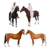 Arabiska ryttare och hästar stock illustrationer