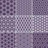 Arabiska sömlösa modeller ställde in från enkla geometriska former Islamvektorprydnad stock illustrationer