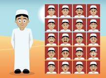 Arabiska tonåriga framsidor för pojketecknad filmsinnesrörelse Royaltyfri Foto