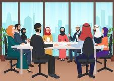 Arabiskt affärsfolk som diskuterar möta det moderna kontorsskrivbordet Muslimsk illustration för vektor för konferenslägenhetteck vektor illustrationer