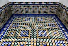 Arabiskt för Bahia för bakgrund för marmormosaiktegelplatta golv slott Arkivbild