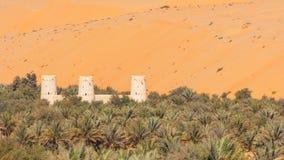 Arabiskt fort i en oas Arkivbild