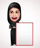 Arabiskt innehav för kvinnliga muslim och framlägga ett tomt vitt bräde stock illustrationer
