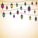 Arabiskt lyktakort i vektorformat Arkivfoton