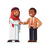 Arabiskt och amerikanskt mananseende som skakar händer vektor illustrationer
