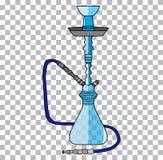 Arabiskt rör för vattenpipatobak och symbol för turkisk vattenpipa för avkoppling traditionellt en genomskinlig bakgrund Arkivfoto