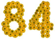 Arabiskt tal 84, åttioåfyra, från gula blommor av smörblomman Royaltyfria Foton