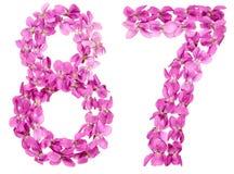 Arabiskt tal 87, åttiosju, från blommor av altfiolen som isoleras Fotografering för Bildbyråer
