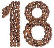Arabiskt tal 18, arton, från kaffebönor som isoleras på whit Arkivfoton