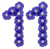 Arabiskt tal 11, elva, från blåa blommor av lin, isolerade nolla Arkivfoton