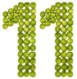 Arabiskt tal 11, elva, från gröna ärtor som isoleras på vita lodisar Royaltyfria Foton