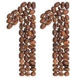 Arabiskt tal 11, elva, från kaffebönor som isoleras på vit Royaltyfri Fotografi