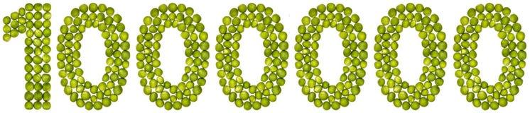 Arabiskt tal 1000000, en miljon, från gröna ärtor som isoleras på Royaltyfria Bilder
