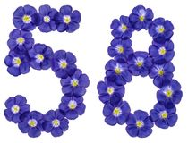 Arabiskt tal 58, femtioåtta, från blåa blommor av lin, isola Arkivfoton