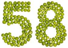 Arabiskt tal 58, femtioåtta, från gröna ärtor som isoleras på whi Royaltyfria Bilder